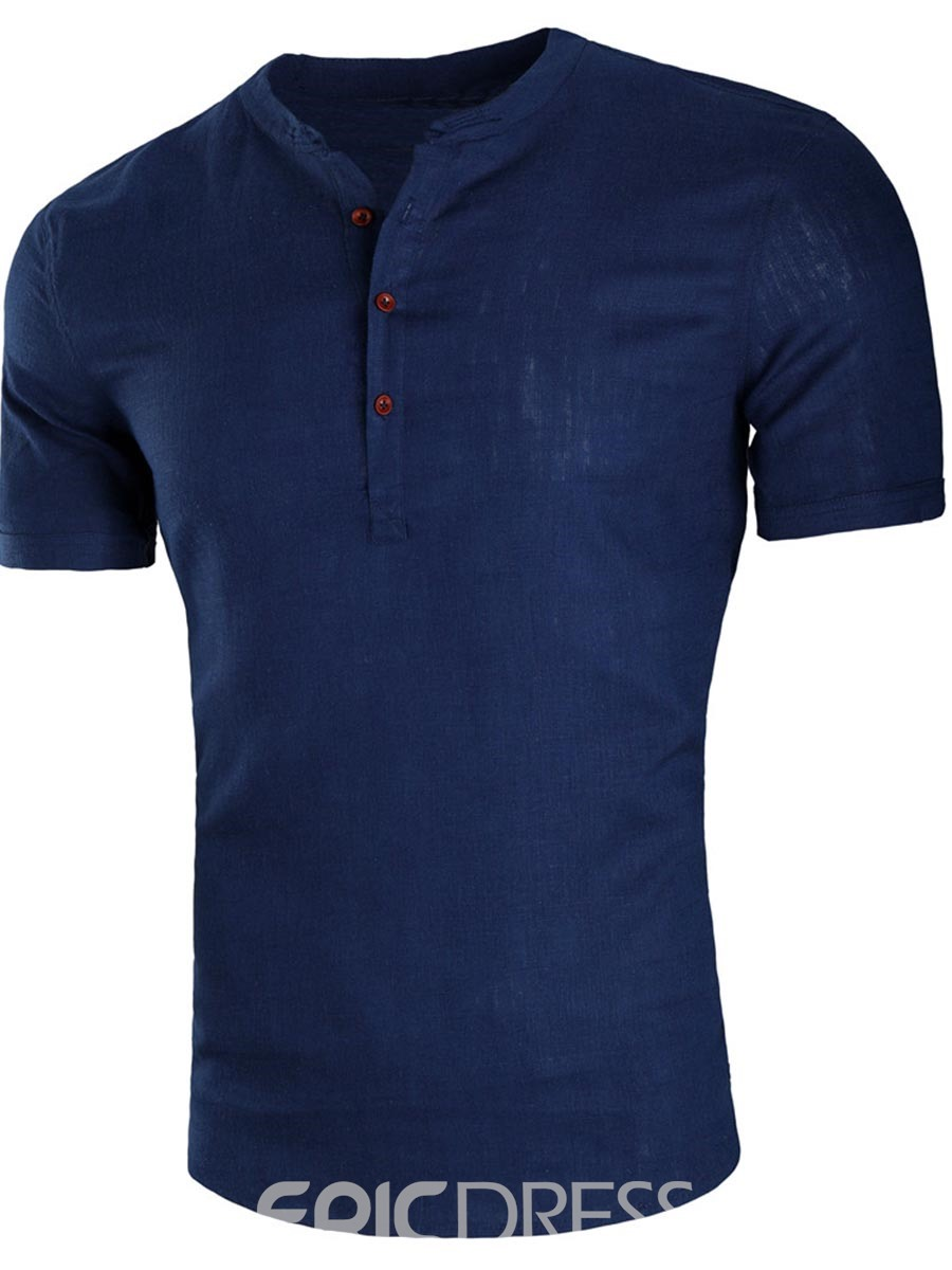 Ericdress Plain Loose Button Short Sleeve Mens Casual Shirts