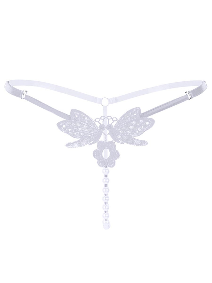 Ericdress Butterfly Floral Pearls Sexy Thong