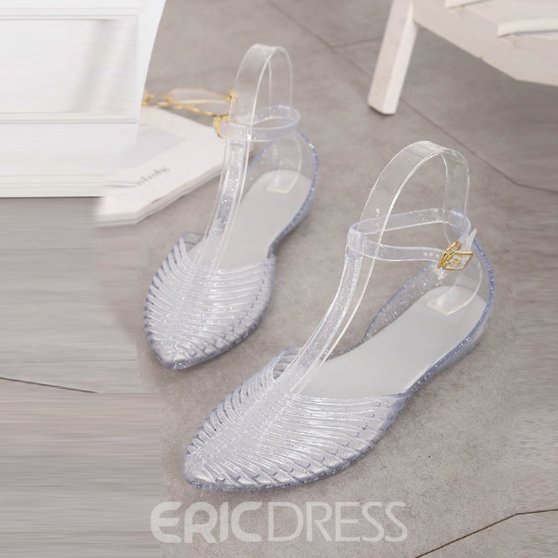 Ericdress PVC Hollow T-Shaped Buckle Pointed Toe Flat Sandals