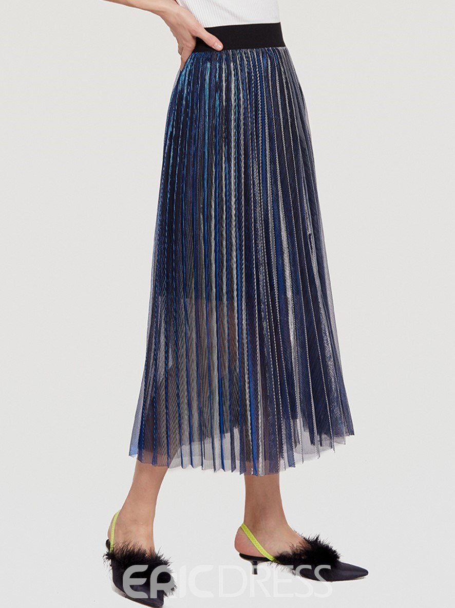 Ericdress Pleated Mid-Calf Metallic Mesh Women's Skirt