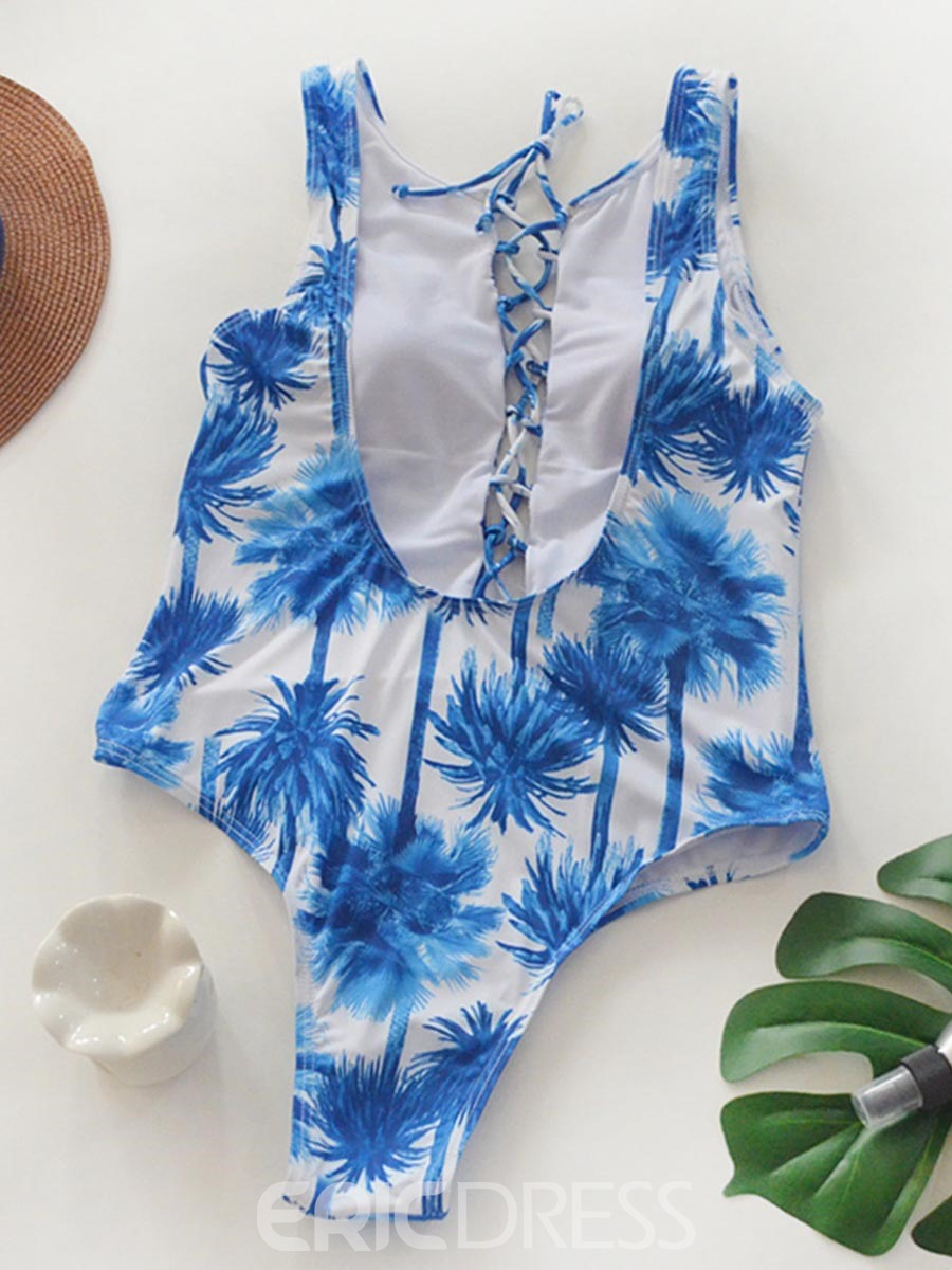 Ericdress Floral Hollow Lace-Up One Piece Bathing Suits