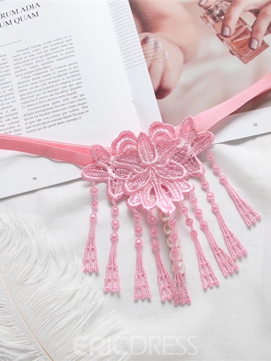 Ericdress Sexy Pearl Massage Flower Knitting Tassel Perspective Thong