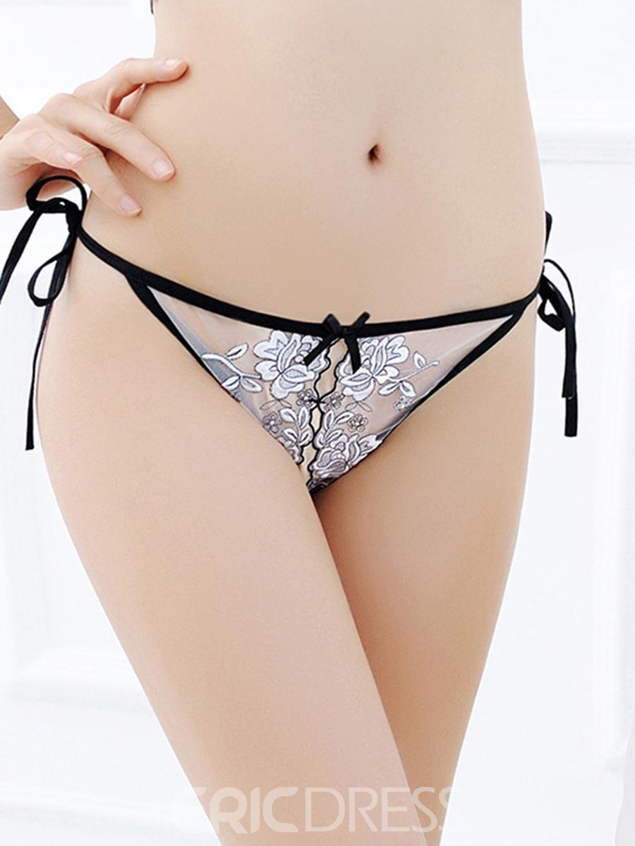 Ericdress Embroidery Open Crotch Lace-Up Sexy Thong