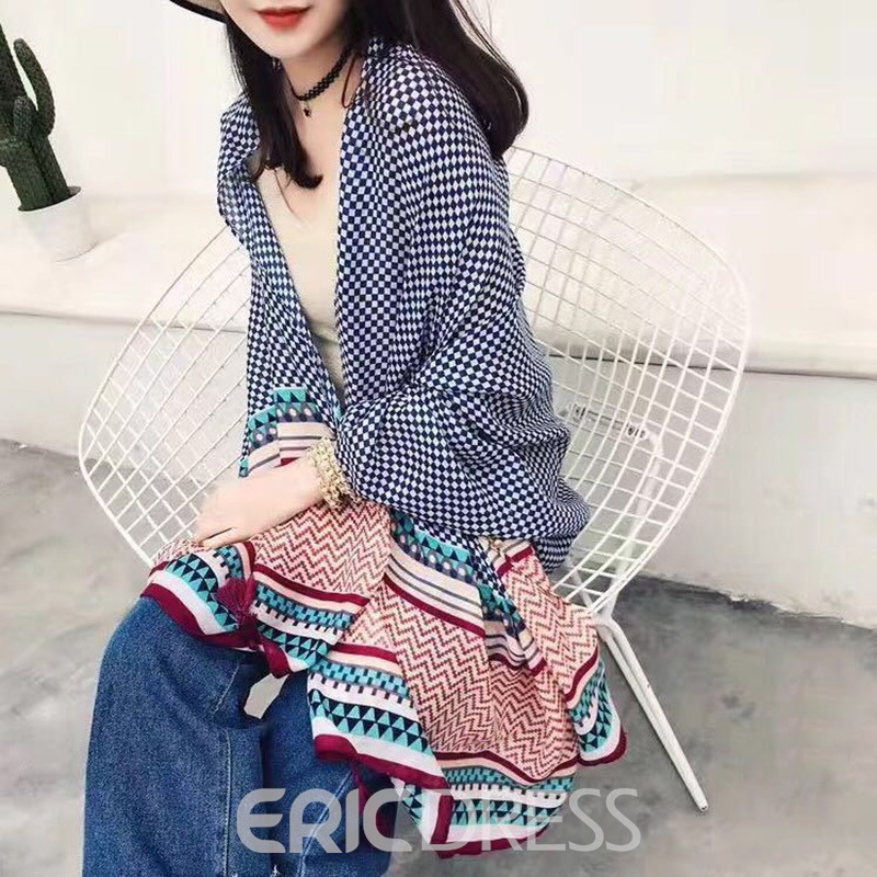 Ericdress Ethnic Style Cotton and Linen Beach Shawl Silk Scarf
