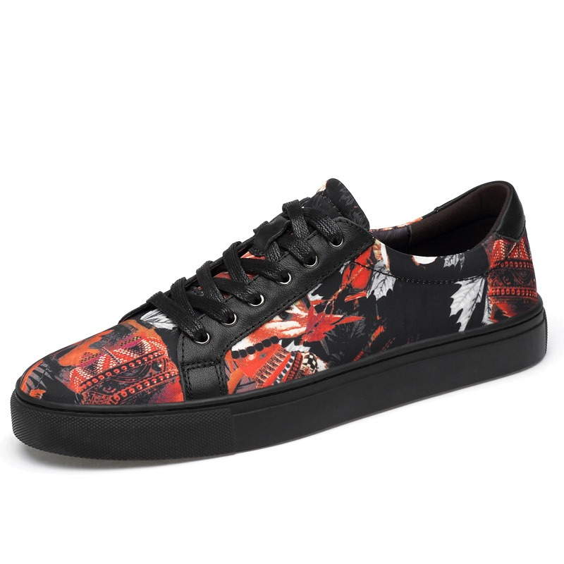 Ericdress Print Patchwork Lace-Up Round Toe Men's Sneakers