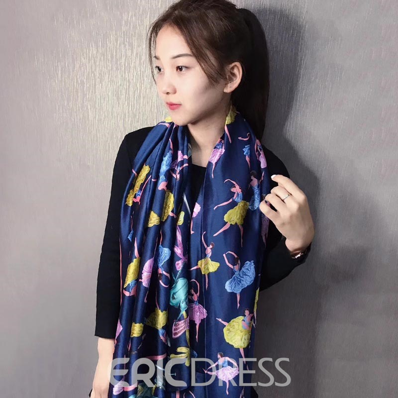 Ericdress Printed Silk Shawl Silk Scarf