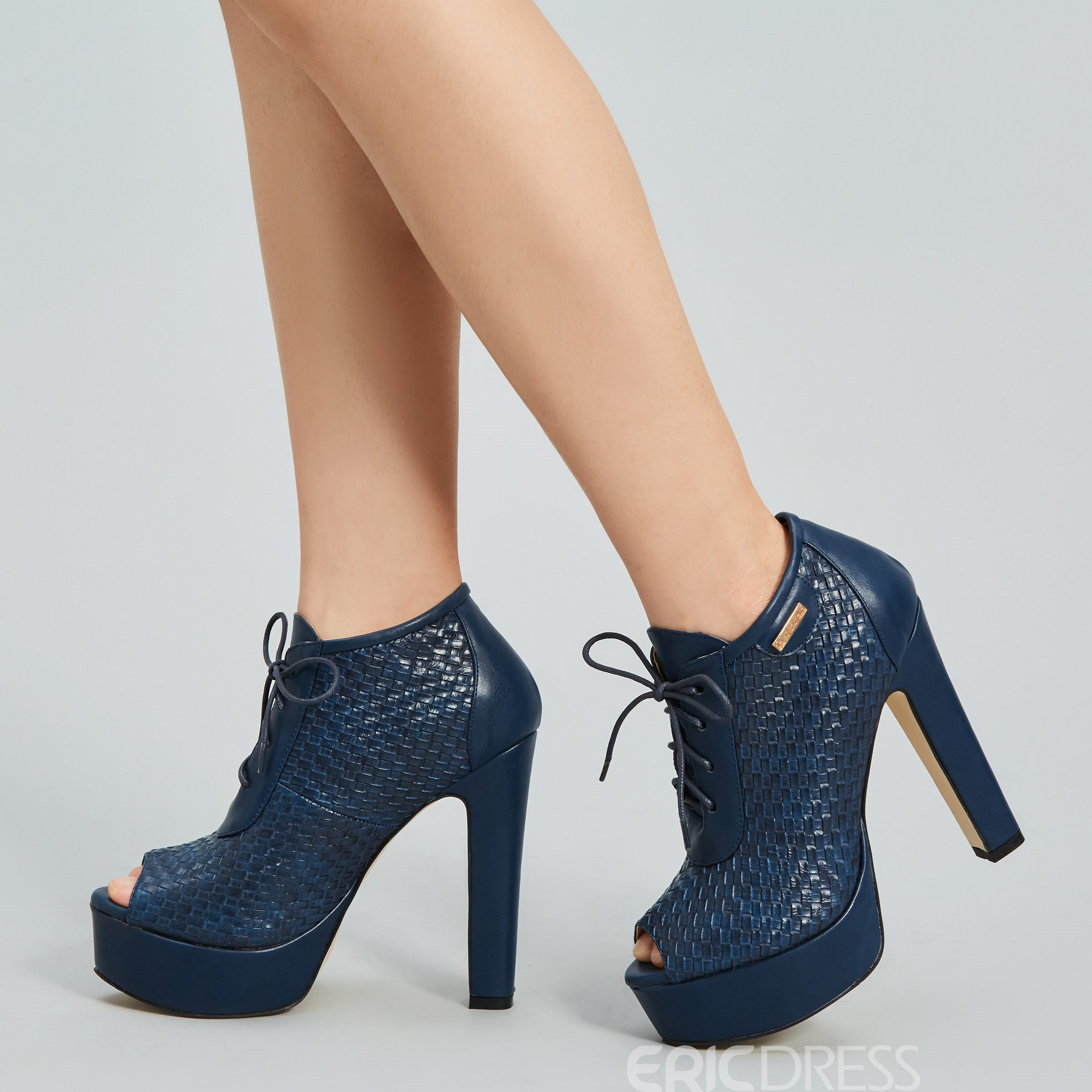 Ericdress Platform Peep Toe Lace up High Heel Boots
