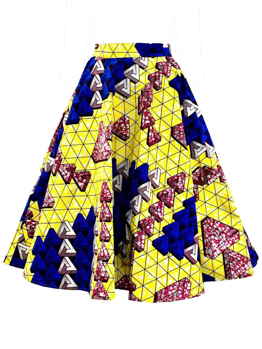 Ericdress Full Geometric Print Women's Skirt