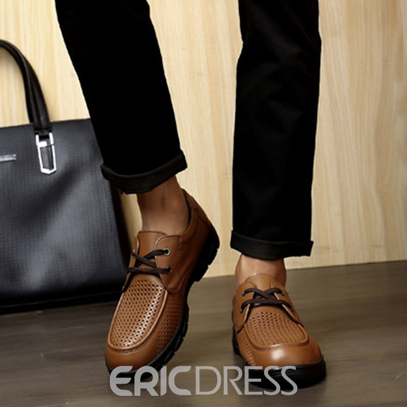 Ericdress Professional PU Hollow Lace-Up Men's Shoes