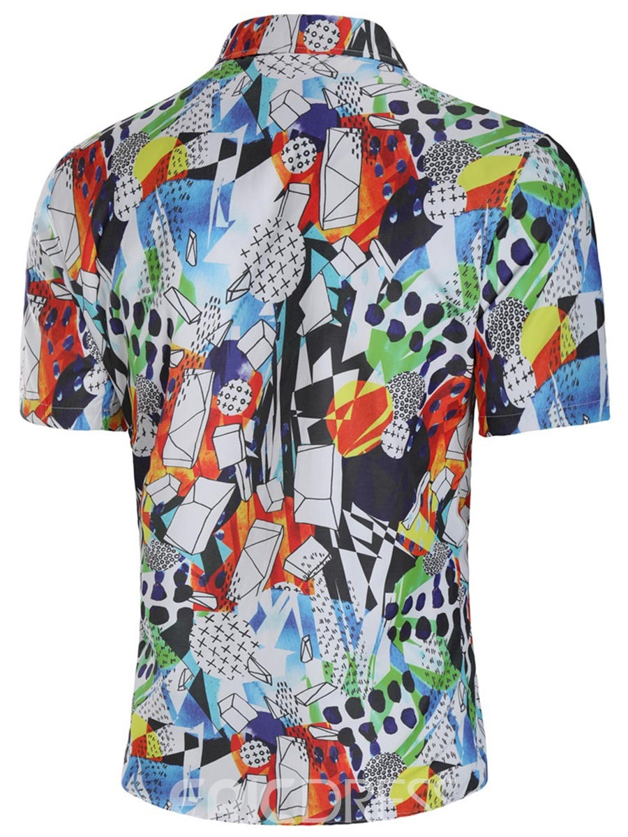 Ericdress Geometric Color Block Printed Loose Mens Summer Shirts