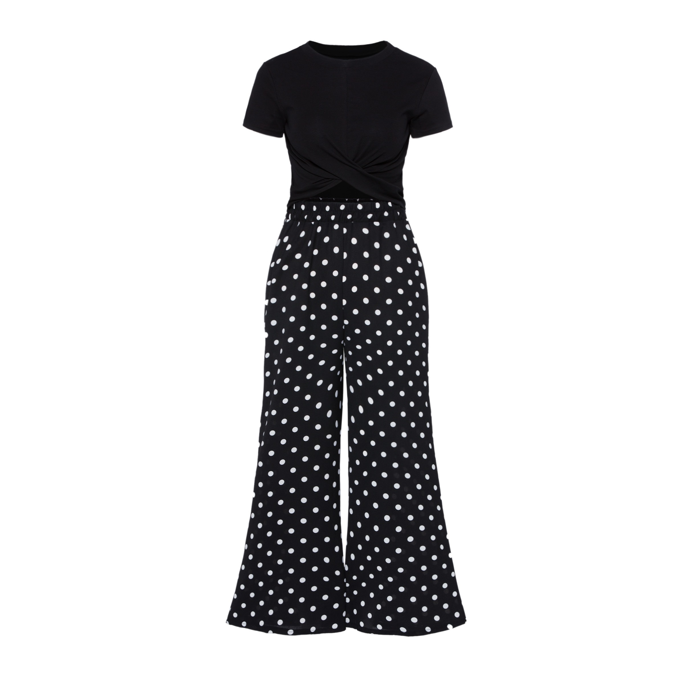 Criss Cross Crop Top with Polka Dots Pants Women's Two Piece Set