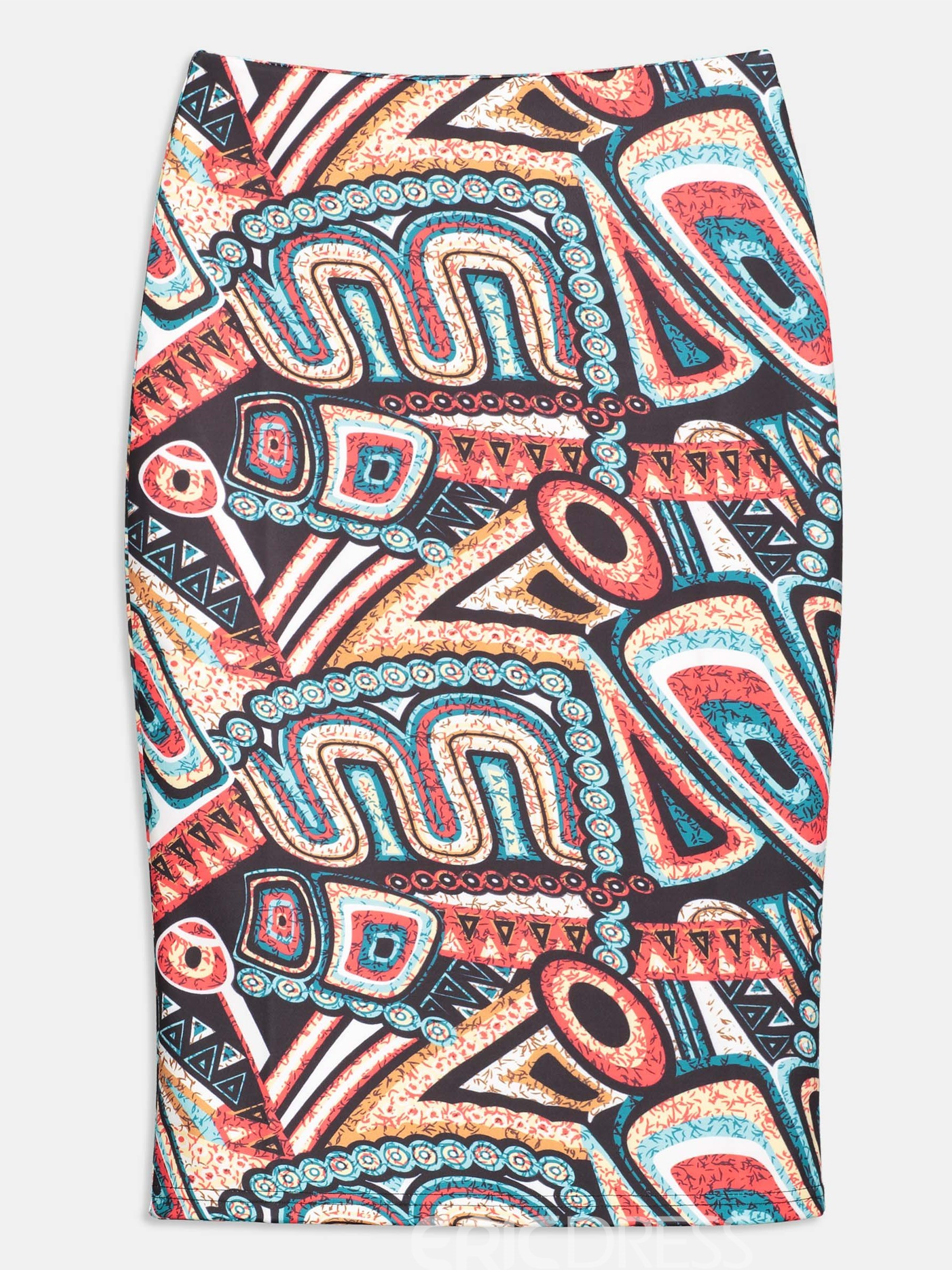 Geometry Print Bodycon Women's Skirt