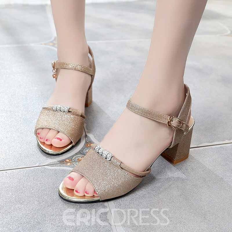 Ericdress Fashion Ankle Strap Peep Toe Chunky Sandals
