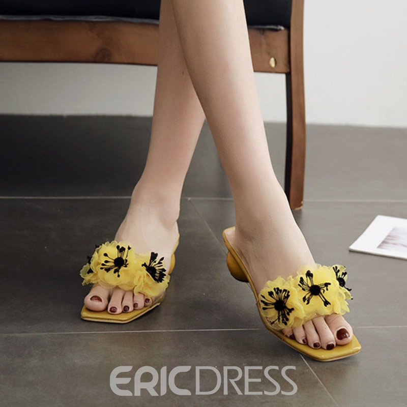 Ericdress Appliques Beads Chunky Heel Slip-On PVC Sandals