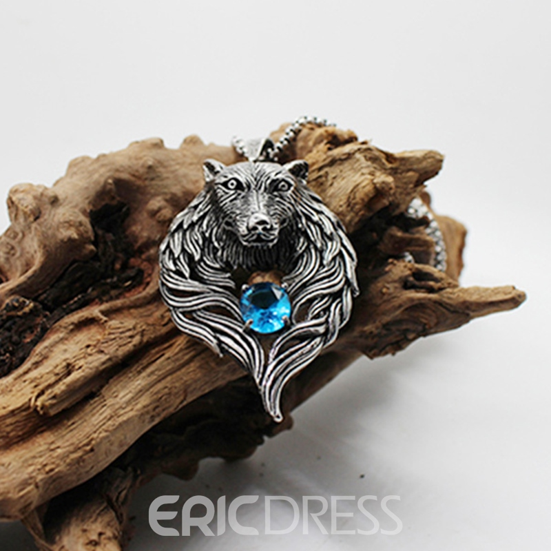 Ericdress Wolf Blue Diamanted Necklace