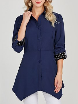 Ericdress Asymmetri Button Lapel Long Sleeves Blouse
