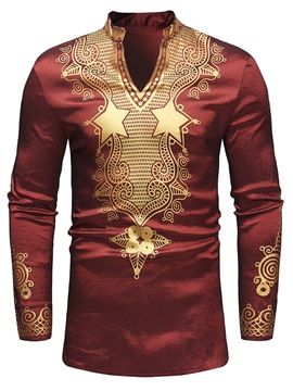 Ericdress Dashiki African Golden Print Mens Casual T Shirts