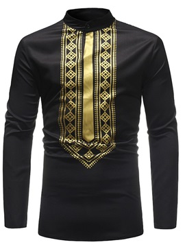Ericdress African Fashion Dashiki Slim Stand Collar Mens Casual Shirts