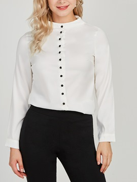Ericdress Plain Button Single-Breasted Long Sleeves Blouse