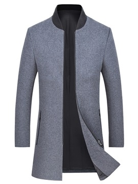 Ericdress Stand Collar Plain Zipper Slim Mens Wool Winter Coats