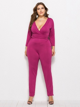 Ericdress Plus Size Patchwork Plain Skinny Jumpsuit