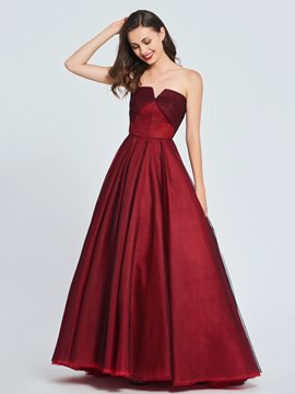 Ericdress A Line Strapless Long Prom Dress