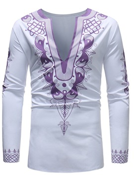 Ericdress African Fashion Dashiki Print Mens Deep V-Neck Casual T Shirts