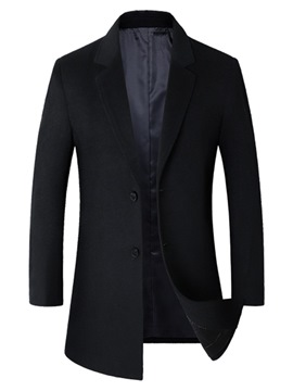 Ericdress Plain Lapel Slim Mens Winter Wool Thick Coats