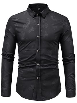 Ericdress Plain Printed Lapel Button Up Mens Casual Dress Shirts