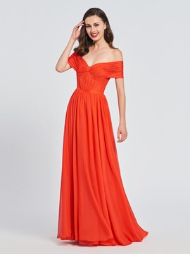 Ericdress A Line Off The Shoulder Pleats Prom Dress