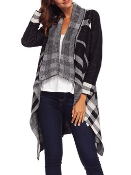Ericdress Asymmetric Plaid Casual Long Sleeves Cardigan