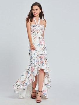 Ericdress Halter Print Asymmetry Mermaid Prom Dress