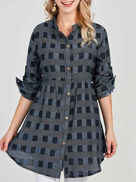 Ericdress Plaid Loose Casual Single-Breasted Blouse