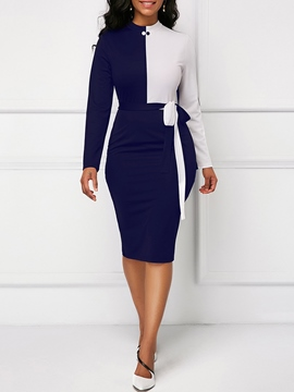 Ericdress Bodycon Color Block Long Sleeves Women's Dress