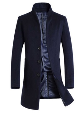 Ericdress Plain Stand Collar Single Breasted Mens Casual Wool Coats