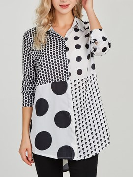 Ericdress Polka Dots Color Block Print Long Sleeve Blouse