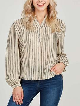 Ericdress Loose Stripe V-Neck Long Sleeves Blouse