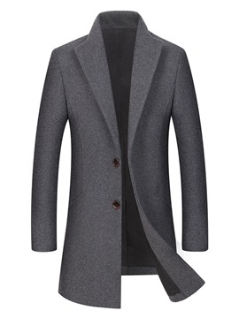 Ericdress Plain Two Button Thick Slim Mens Wool Casual Coats