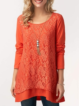 Ericdress Scoop Lace Patchwork Plain Long Sleeve T-shirt