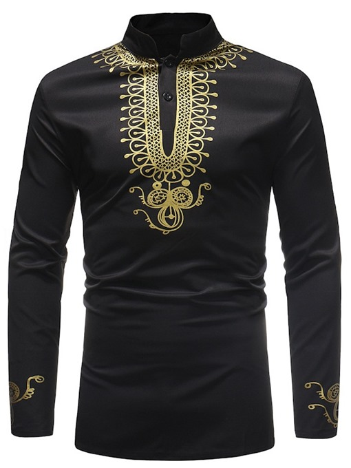 Ericdress African Fashion Golden Black Dashiki Print Stand Collar Mens Shirts