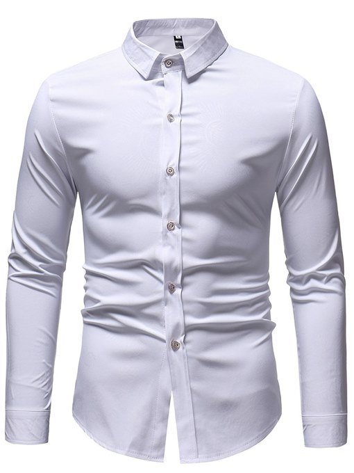 Ericdress Printed Plain Slim Button Up Mens Casual Dress Shirts