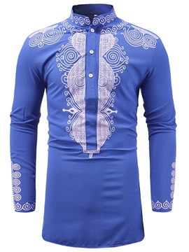 Ericdress Dashiki African Stand Collar Mid-Length Mens Casual T Shirts