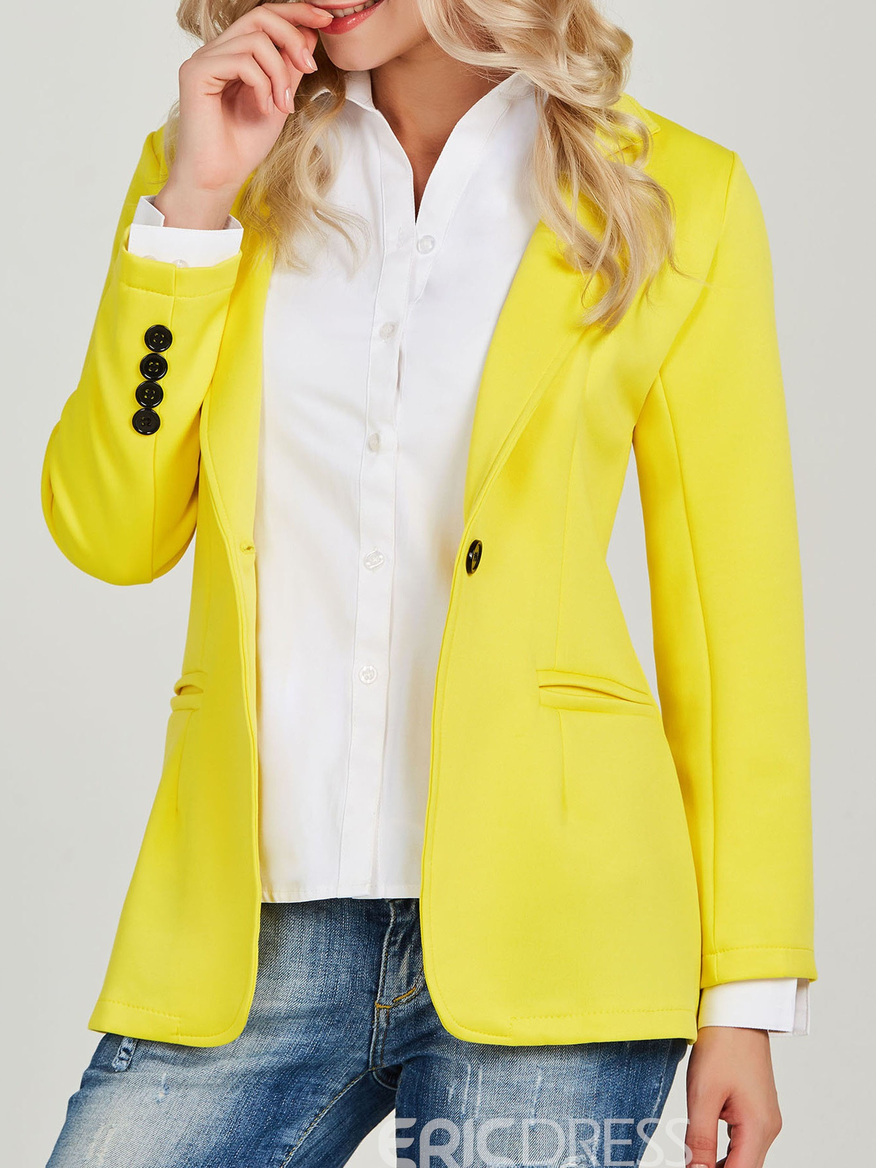 Ericdress Notched Lapel Plain One Button Office Lady Blazer