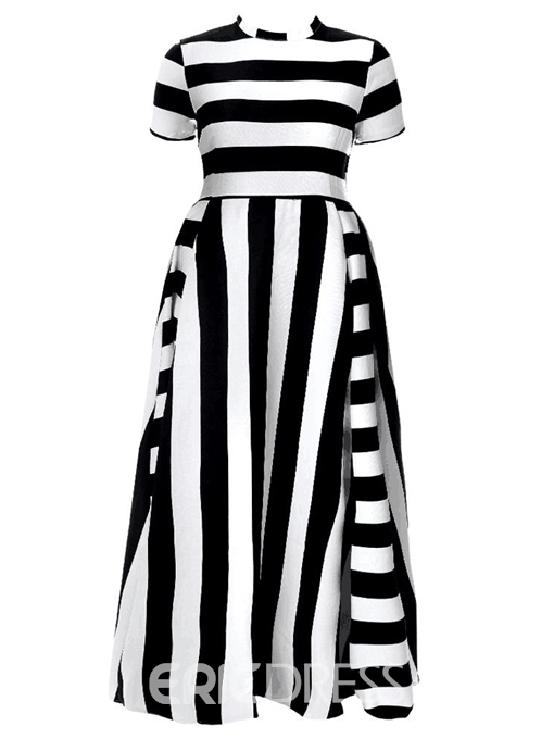 Ericdress Plus Size Stand Collar Patchwork Floor-Length Regular Stripe Dress