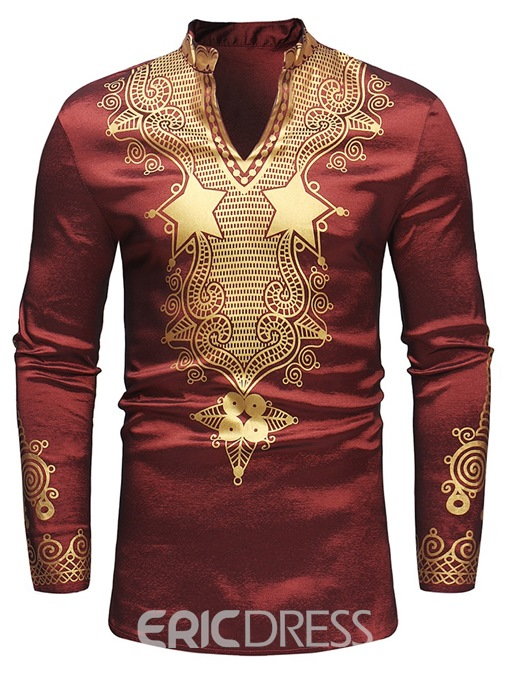 Ericdress African Fashion Dashiki Golden Print Mens Casual T Shirts
