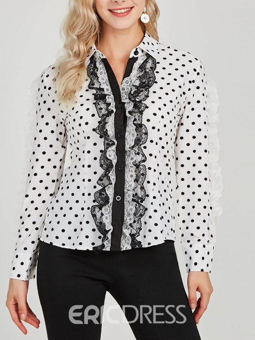 Ericdress Lace Patchwork Single-Breasted Long Sleeve Blouse