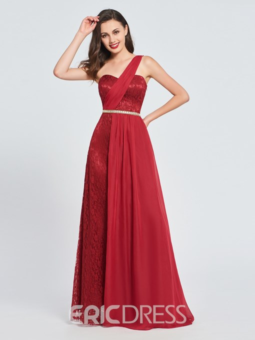 Ericdress A-Line One-Shoulder Lace Long Prom Dress