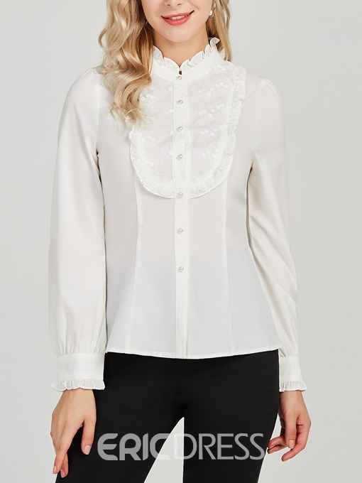 Ericdress Stringy Selvedge Patchwork Lace Long Sleeve Blouse
