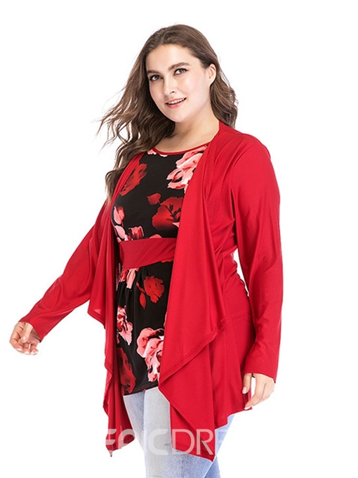 Ericdress Plus Size Color Block Round Neck Print Long Sleeve Mid-Length Blouse