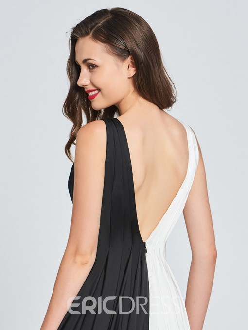 Ericdress A Line V Neck Black And White Long Prom Dress